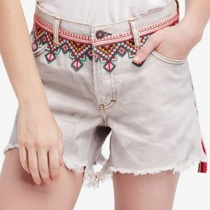 We the Free Frayed Hem Embroidered Denim Shorts